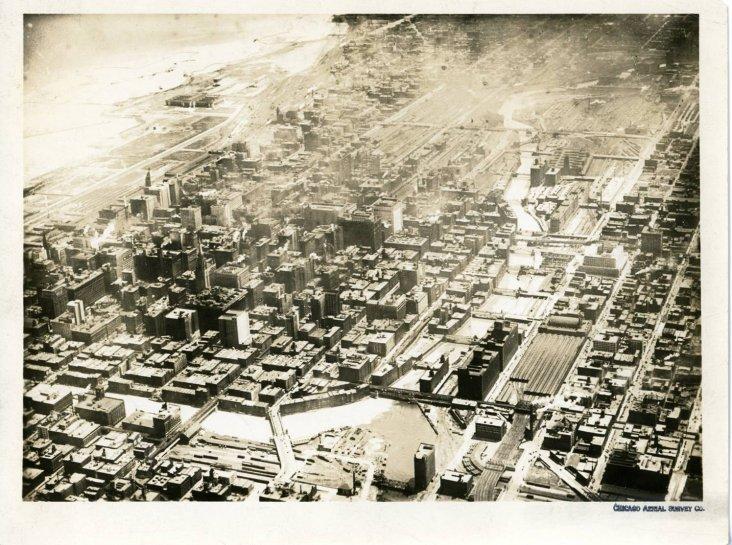 Aerial View Chicago River 1924 The Burnham Plan Centennial